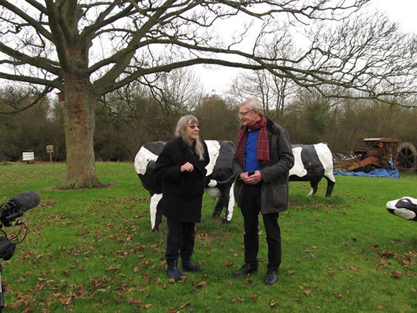 Liz Leyh with museum director Bill Griffiths in front of the concrete cows in Milton Keynes
