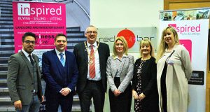 From left to right: Adil Marbouhi, Neil Briggs, Mayor of Milton Keynes Steve Coventry, Danielle Withers, the Mayoress Ms Liane Lacey and Victoria Beale at the Landlord and Investor Summit