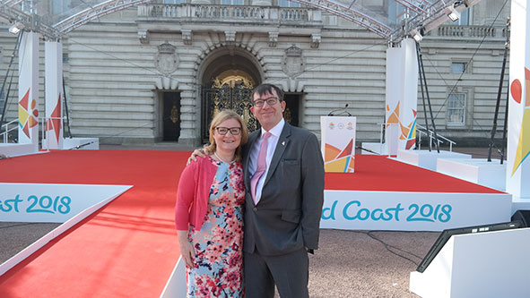 Duncan Mackay and Sarah Bowron from inside the Games at Buckingham Palace for the start of the Queen's Baton Relay