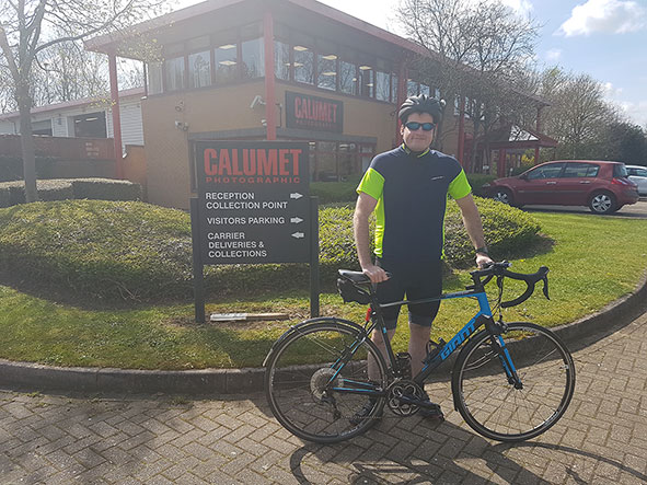 Laurence Male outside the Calumet head offices in Milton Keynes[1]