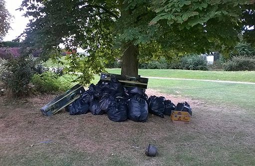 rubbish at the BBQ area at Willen Lake