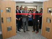 Councillor David Hopkins cuts the ribbon of brand new Newton Leys Care Home