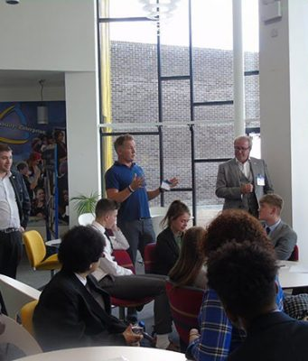 Darren Thomson (Movey), David Drever and Paul Kitchen (Yellow Yoyo) present to The Inspiration Programme Students at The Milton Keynes Academy